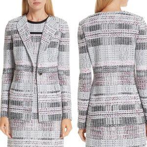 St. John Collection Bianca Plaid Knit Jacket- Grey
